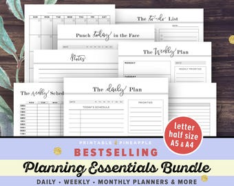 Daily, Weekly Planner Printable Inserts BUNDLE | Life Binder, Filofax A5, A4, Half Size, Letter | Notebook, Agenda, Planner Pages PDF