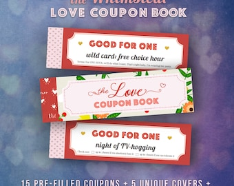 Love Coupons Book For Him Valentines Day Gift Ideas Husband Vouchers Funny Last Minute Romantic DIY Gifts Girlfriend PRINTABLE