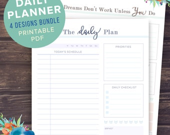 daily planner printable letter a4 a5 etsy