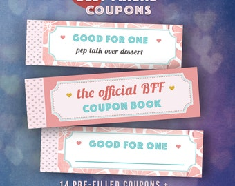 Best Friends Gifts DIY Coupon Book Single Girl Friend Bff Present Platonic Gift Birthday Ideas Friendship INSTANT DOWNLOAD