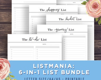 to do list printable bundle listmania bucket list grocery list shopping list templates productivity a4a5letter size printable pdf