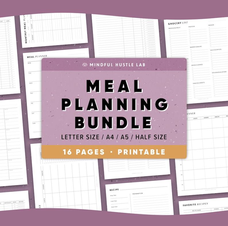 Meal Planner Printable Bundle Weekly Meal Planner Grocery image 1