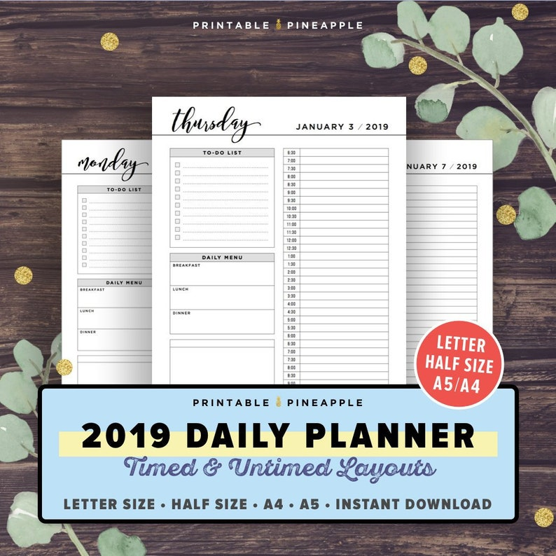 photograph relating to Daily Planner Page named 2019 Day by day Planner, 2019 Plan, Hourly Dated, Filofax A5 Inserts, Printable Planner Internet pages, Fifty percent Letter Measurement, A4, Working day upon 1 Site, DO1P