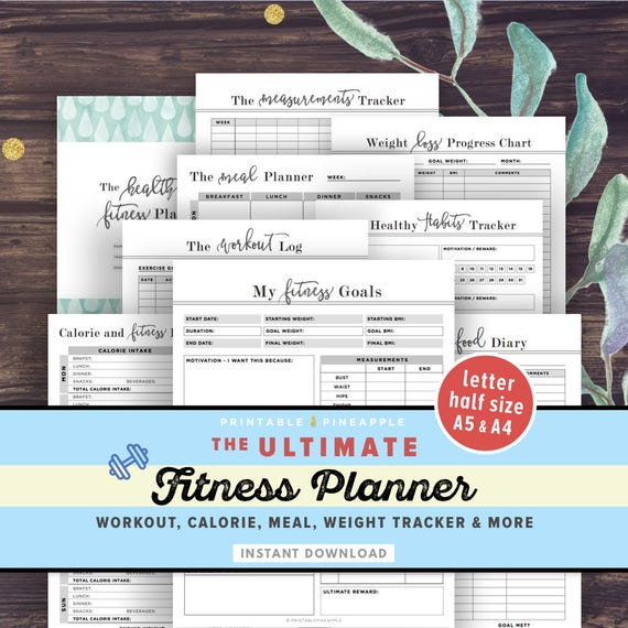 fitness planner printable health planner fitness journal etsy