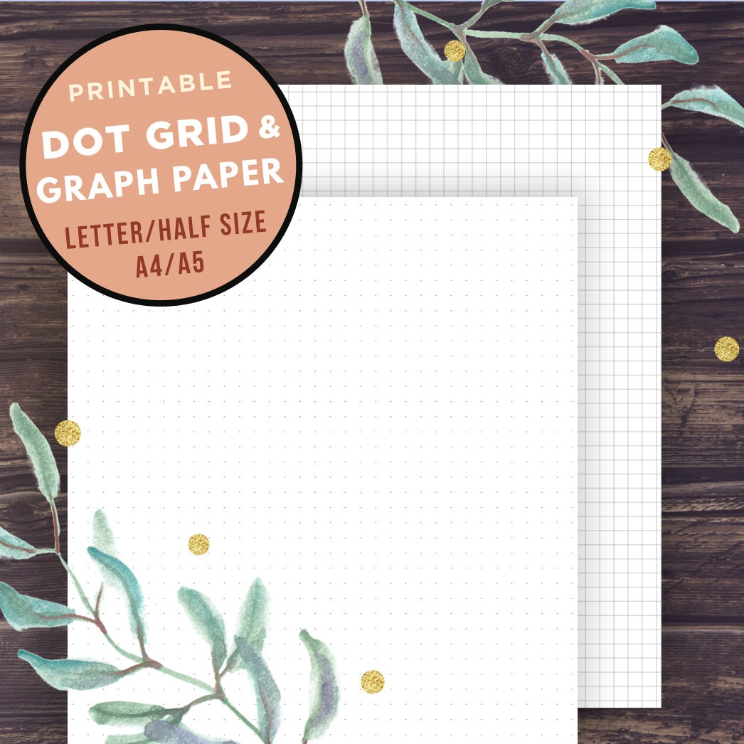 Bullet Journal Template GRAPH paper and Dot Grid Half Size | Etsy
