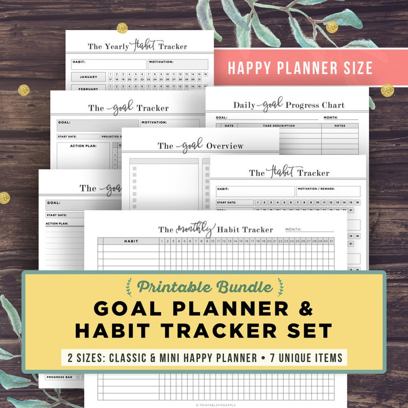 HAPPY PLANNER Inserts Printable, Habit Tracker and Goal Planner Bundle,  MAMBI, me and & my big ideas, Goal setting, pdf, Instant Download