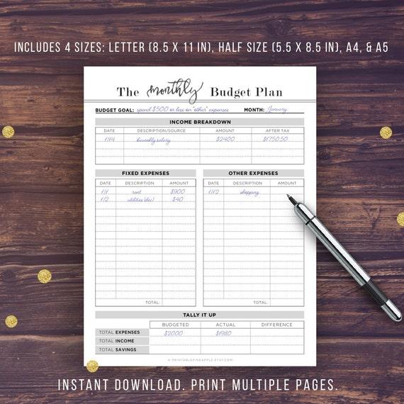 Budgetplaner Druckbare Budget Planner Buch A5 A4 Letter Etsy