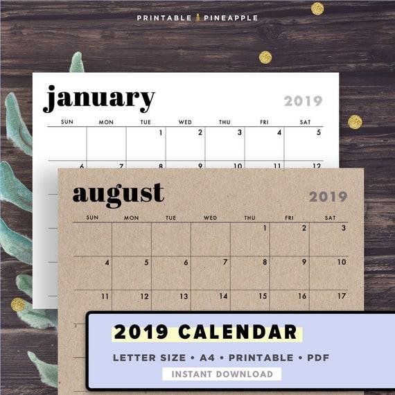 2019 Wall Calendar Printable Calendar Template Horizontal Etsy