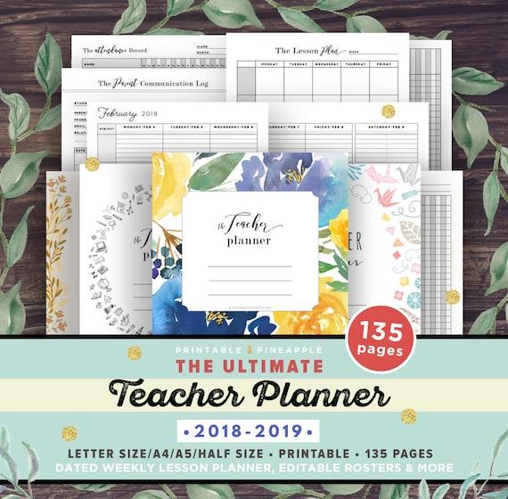 teacher planner 2018 2019 lesson planner printable academic etsy