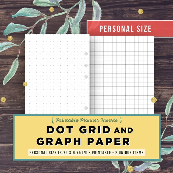 bullet journal template dot grid graph paper personal size etsy