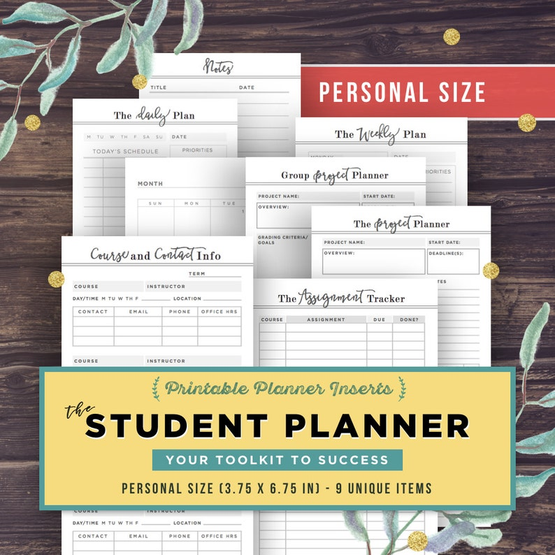 PERSONAL inserts: College Student Planner, Project Planner, 3 7x6 7 High  School, Assignment Planner, Filofax Printable Kikki K, Academic PDF
