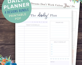 Daily Planner Printable | Daily Planner 2016 Printable, Daily Planner Pages, Inserts, To Do List, Printable Day Planner, INSTANT DOWNLOAD