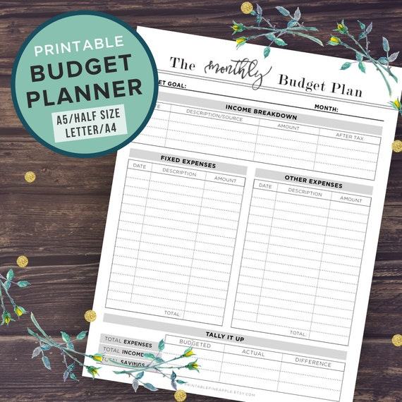 budget planner printable budget planner book a5 a4 letter etsy