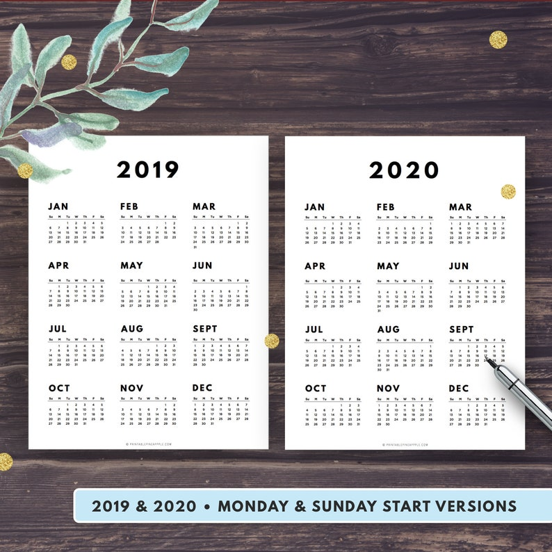 Letter Carrier Calendar 2020 2019 2020 Calendar Printable Year at a Glance Yearly Agenda   Etsy