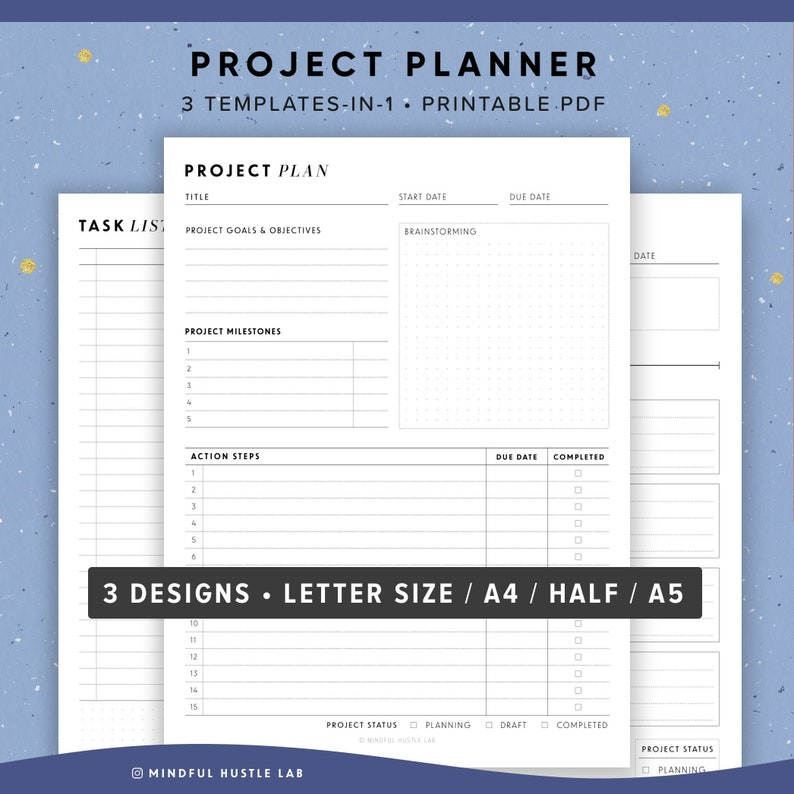 Project Planner Printable Productivity Planner Task Tracker image 0
