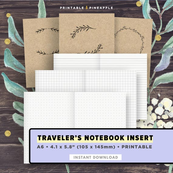 A6 Travelers Notebook Insert Dotted Grid Graph Paper Lined Etsy