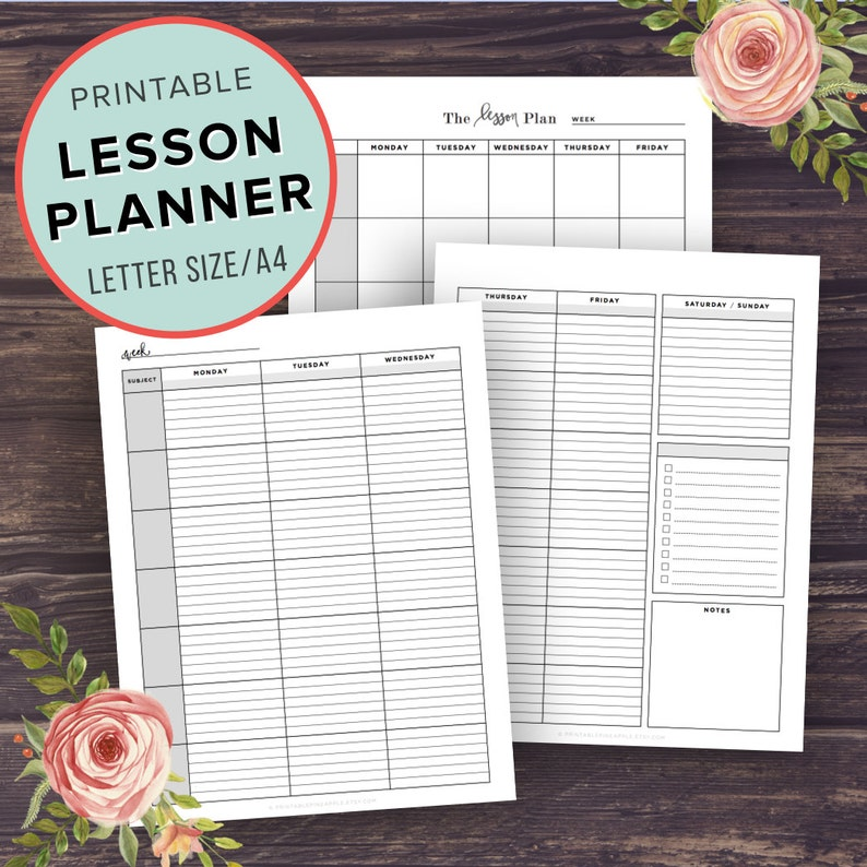 picture regarding Printable Teacher Planner called Lesson Planner, Instructor Planner Printable, University Planner, Homeschool lesson software, Higher University, Center, Schedule, Letter Sizing, A4, Binder