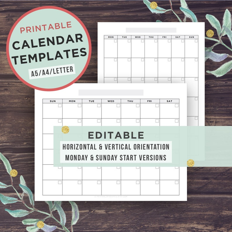 Calendario 2020 Editabile.Modello Editabile Calendario Calendario Stampabile Lunedi Inizio Domenica Avvia Filofax A5 A4 Lettera Download Digitale Acrobat Pdf