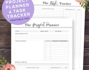Project Planner Printable, Productivity Planner, Task Tracker, College Student, A5, A4, US Letter Size, Digital Template, Instant Download