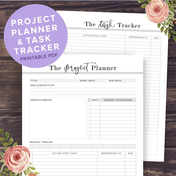 project planner printable productivity planner task tracker etsy