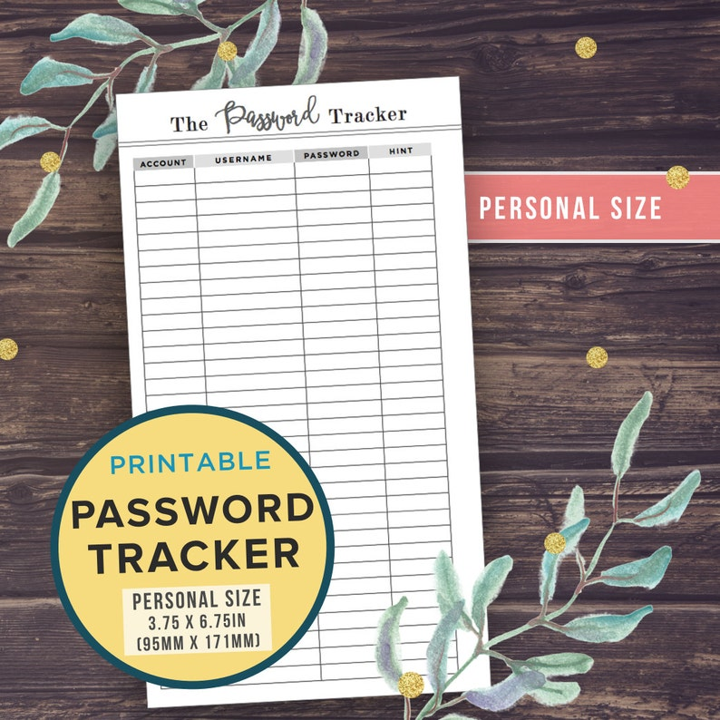 Personal Size Password Tracker Printable Planner Inserts Etsy