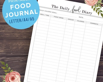 Food Journal A5/A4/US Letter Size, Printable Food Diary, Weight Loss Journal, Calorie Tracker, Health and Fitness Planner, Instant Download