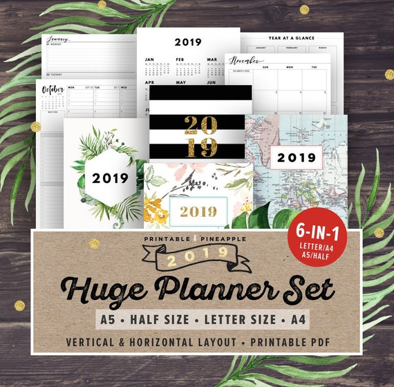 2019 Planner Printable 2019 Agenda 2019 Weekly Planner Etsy