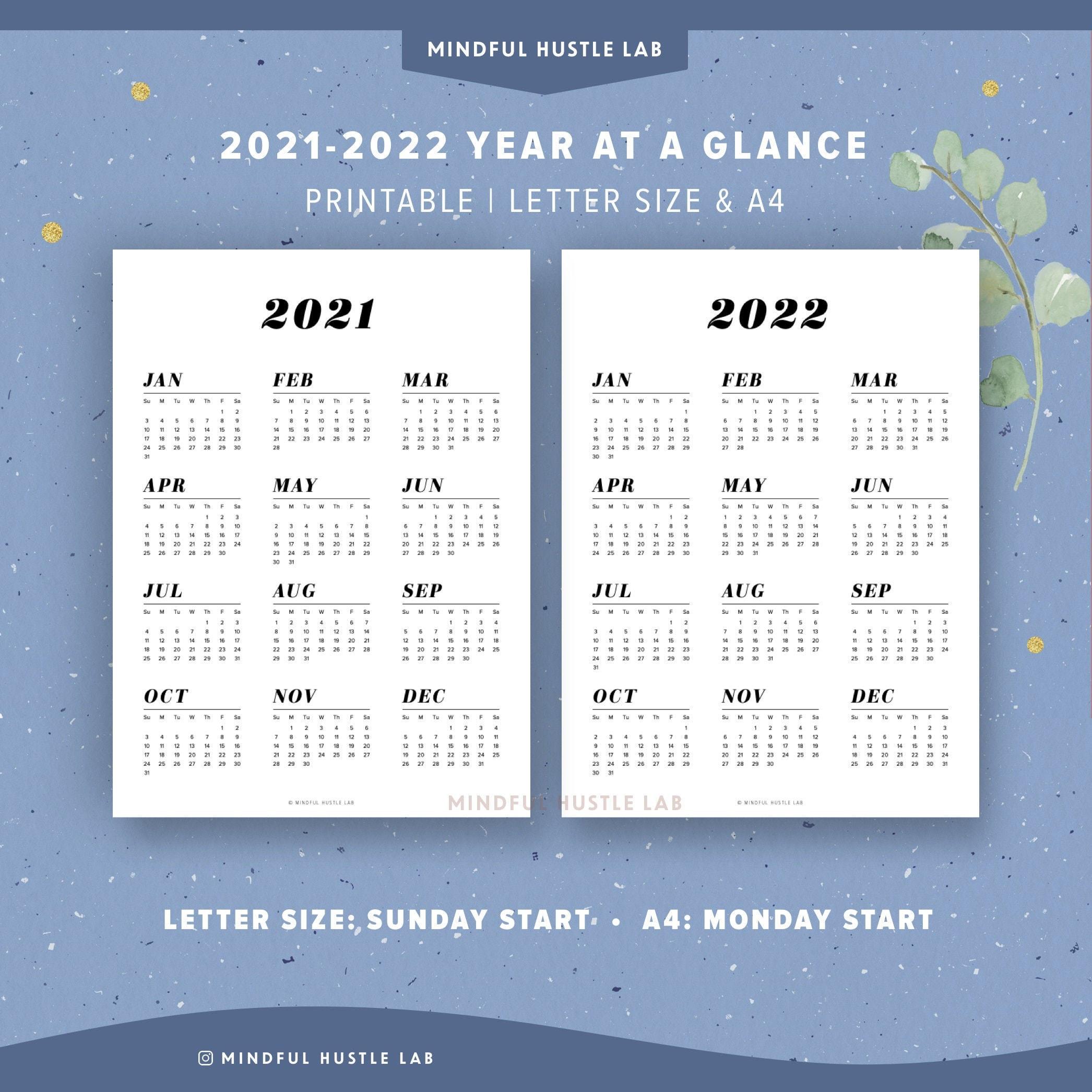 2022 Calendar At A Glance.2021 2022 Year At A Glance Calendar Printable Yearly Agenda Etsy
