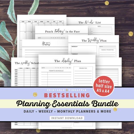 Daily Weekly Planner Printable Inserts BUNDLE Life Binder Etsy