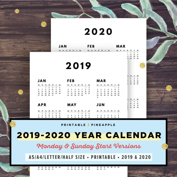 Modern 2019 2020 Mid Year Diary: 2019-2020 Calendar Printable Year At A Glance Yearly