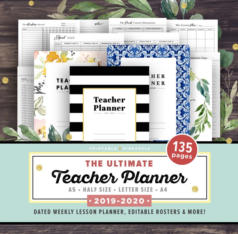 photo about Printable Teacher Planner titled Instructor Planner 2019-2020, Lesson Planner Printable, Educational Planner, clroom roster, timetable, letter paper system, A4 A5 50 percent Editable PDF