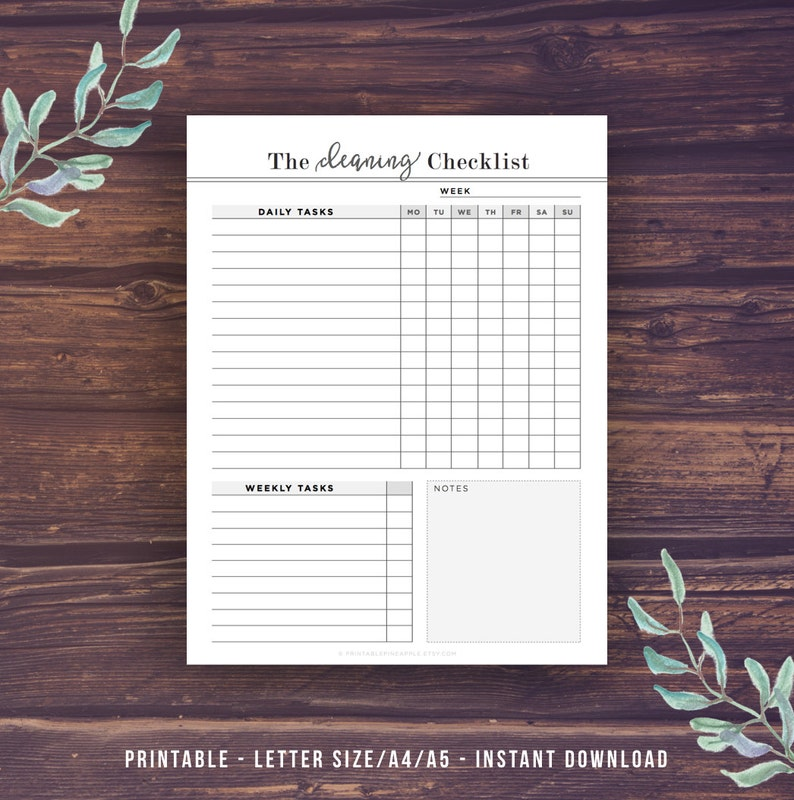 Cleaning Schedule, Printable Cleaning Checklist, Cleaning Planner, Chore  Chart, Housekeeping, Weekly Cleaning, Filofax A5, Mom Planner, PDF