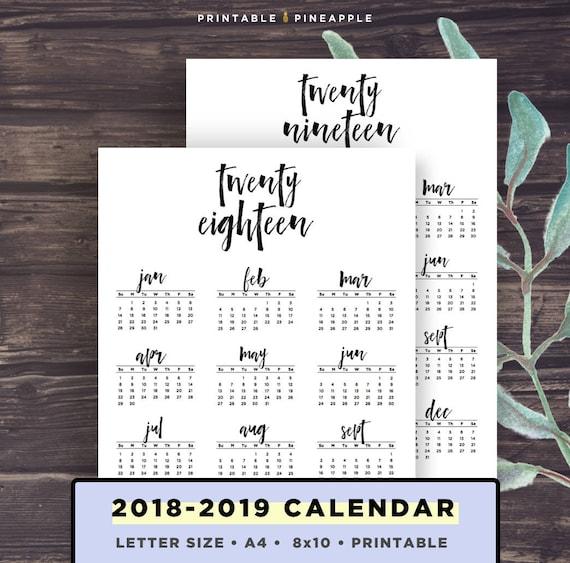 2018 2019 Calendar Printable Printable Calendar Brush Etsy