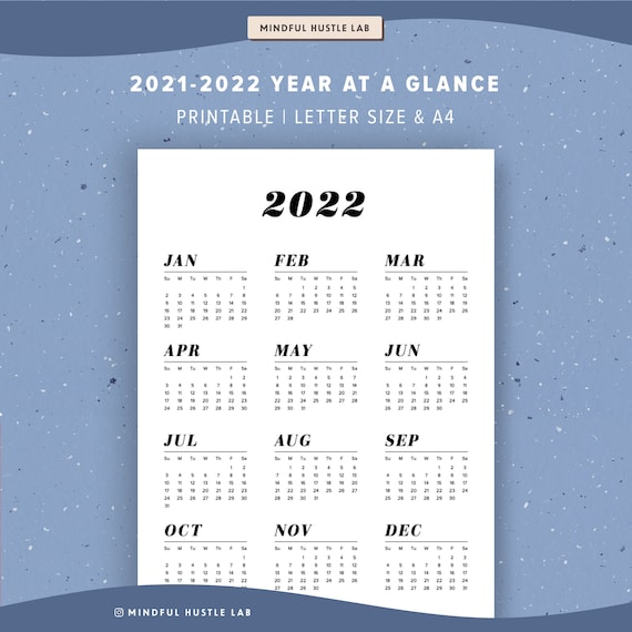 Letter Carrier Calendar 2022.2021 2022 Year At A Glance Calendar Printable Yearly Agenda Etsy