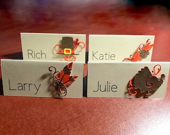 name place cards for thanksgiving dinner turkey buffet food labels personalized dinner table place setting fall table decor - Thanksgiving Place Cards