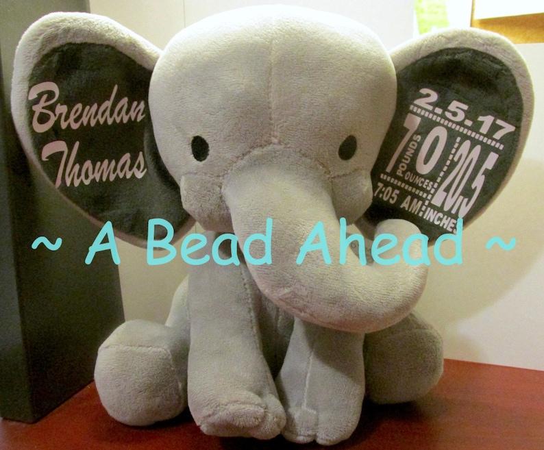 Customized Elephant Birth Announcement Baby Keepsake image 0