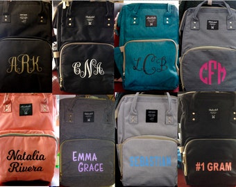 Diaper Bag Backpack, Personalized for Baby Girl, for baby boys, Nappy Bag, Stroller strap loops, Monogram Insulated bag
