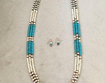 Turquoise and coconut shell boho long necklace set