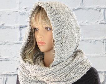 Hooded Scarf Pattern, Celine Knit Hooded Infinity Scarf Pattern #802, Knitting Scarf PATTERN, Digital Download PDF Pattern