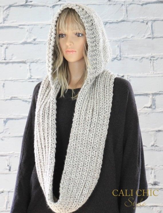 Knit Hooded Scarf Pattern Celine Hooded Infinity Scarf Etsy