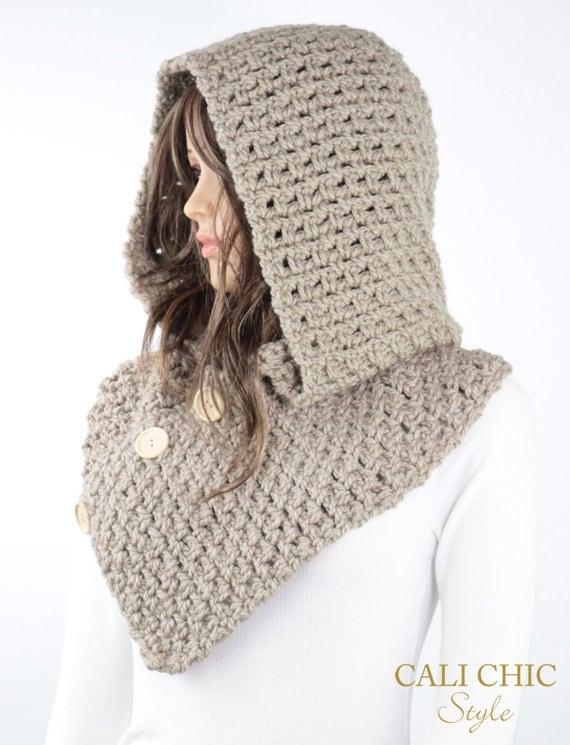 Crochet Hooded Cowl Pattern 809 Amelia Hooded Scarf Pattern | Etsy