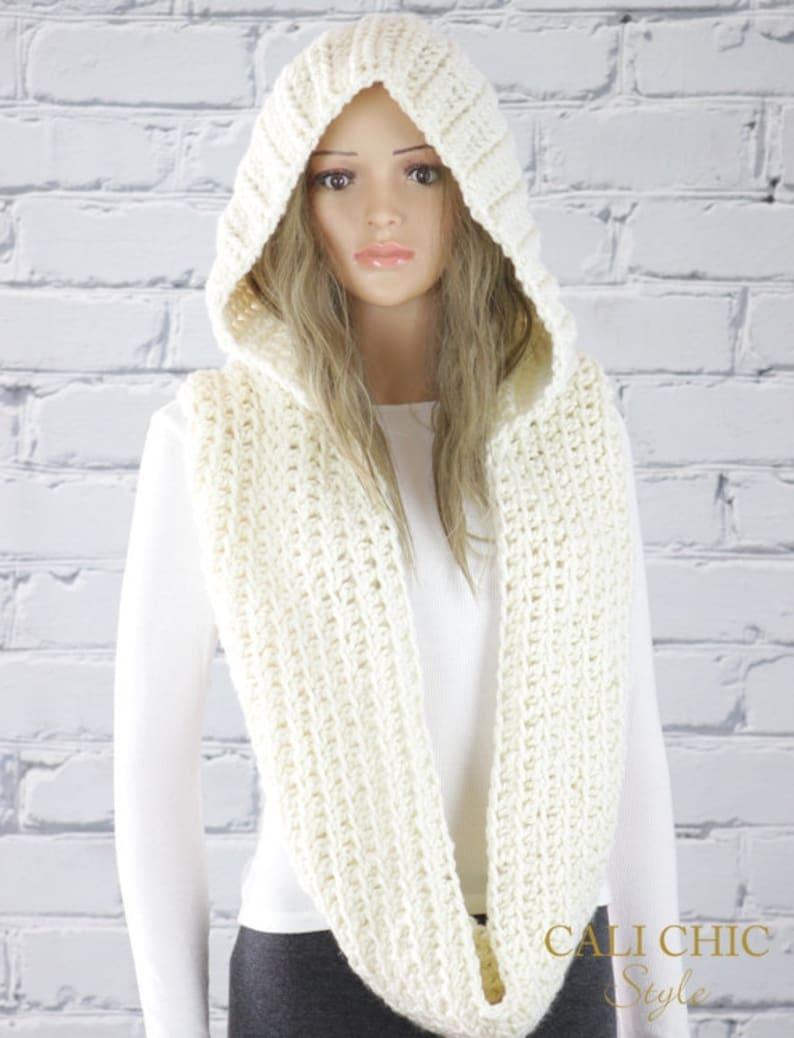 3f874405b03 Crochet Hooded Scarf Pattern, Alexia Hooded Infinity Scarf Pattern #800,  Crochet Scarf PATTERN, Instant Digital PDF Pattern Download
