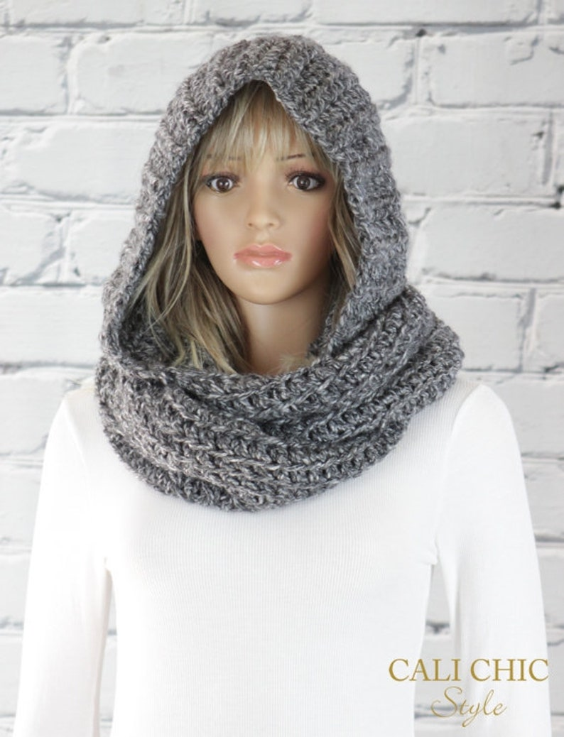 Alexia Hooded Scarf Pattern 800 Crochet Hooded Infinity Etsy
