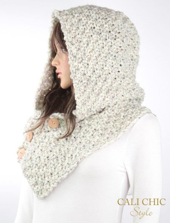 Hooded Cowl Pattern #804, Knit Elena Cowl Pattern, Knitting Cowl ...