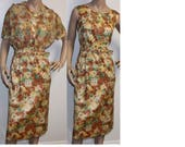 SALE Vintage 1950s brown floral Toni Todd rhinestone party dress w jacket large 339