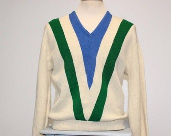 Vintage 1950s chevron stripe The Broadway v neck pullover sweater medium 379