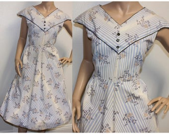 Vintage 1950s light blue striped cotton day dress large 345