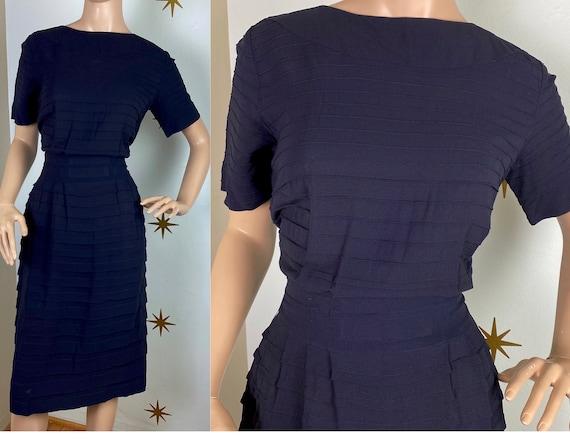 Vintage 1940s R&K Originals navy blue rayon crepe