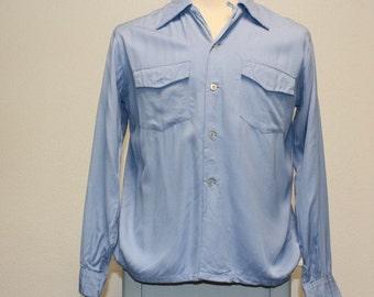 Vintage 1940s light blue gabardine long sleeve MacPhergus shirt medium 382