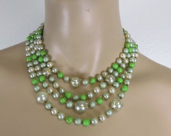 Vintage 1950s green multi strand beaded necklace